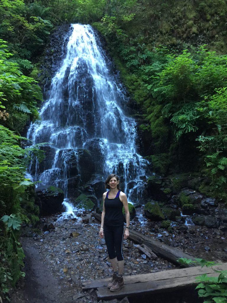 Diane Paddison at waterfall